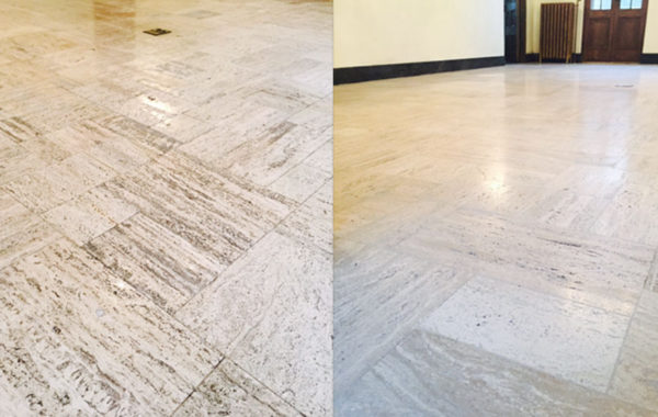 Unfilled Travertine Floor Restoration